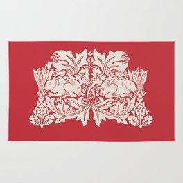William Morris Style Victorian Christmas Bunnies Rug