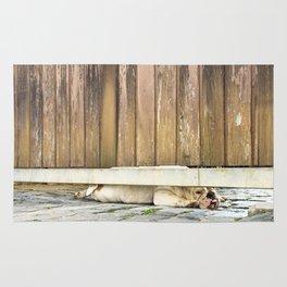 Bored Bulldog And Yard Gate Rug