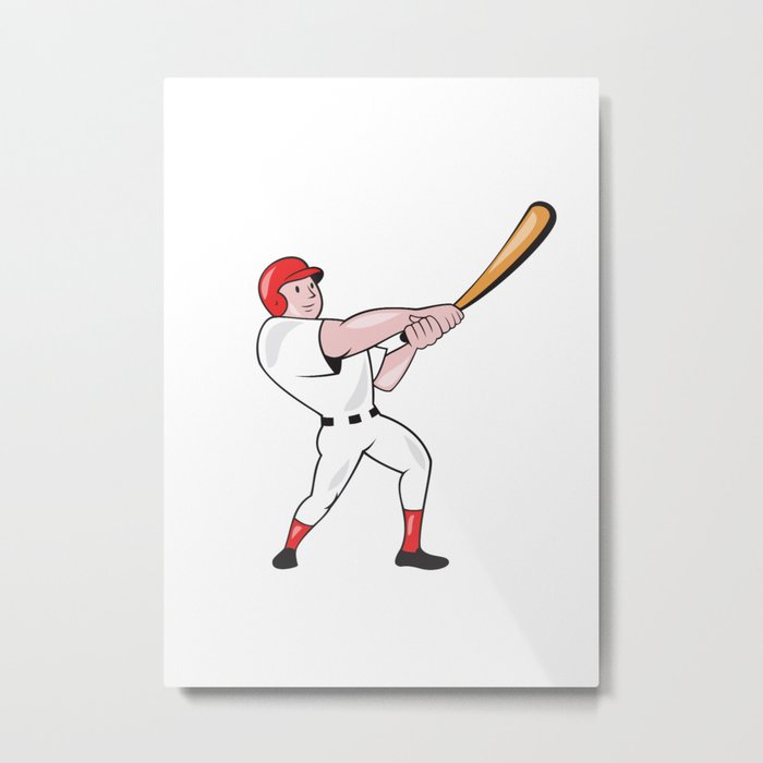 Baseball Player Swinging Bat Cartoon Metal Print