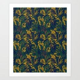 Mustard Navy Jungle Art Print