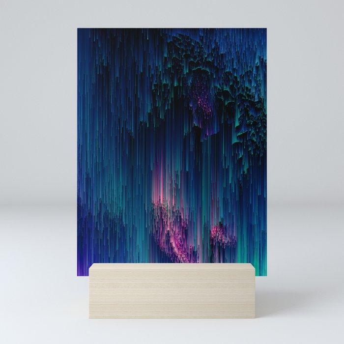 Glitchy Night - Abstract Pixel Art Mini Art Print