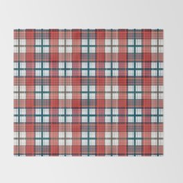 Colorful red grey plaid . Throw Blanket