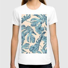 Island Vacay Hibiscus Palm Pale Coral Teal Blue T-shirt