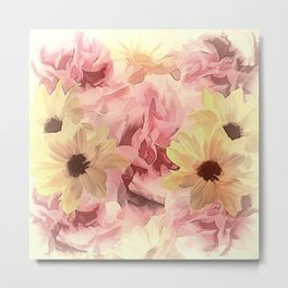 Soft Hazy Day Spring Floral Bouquet Metal Print