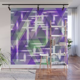 Spring pastel purple shiny triangles. Wall Mural
