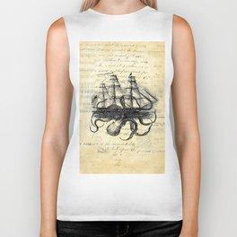 Kraken Octopus Attacking Ship Multi Collage Background Biker Tank