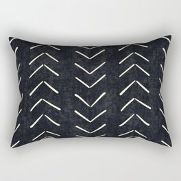Mudcloth Big Arrows in Black and White Rectangular Pillow