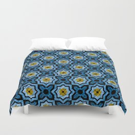 V6 Blue Traditional Moroccan Natural Leather - A4 Duvet Cover