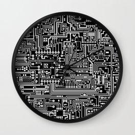 Circuit Board on Black Wall Clock