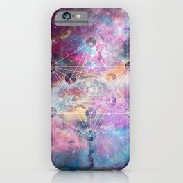 Watercolor and nebula sacred geometry  iPhone Case