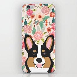 Tricolored Corgi cute corgi florals dog portrait custom dog art pet friendly dog head cell case iPhone Skin