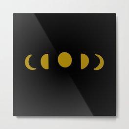 Moon Phase Dark Metal Print