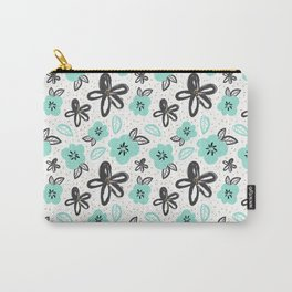 Mint and black flowers Carry-All Pouch