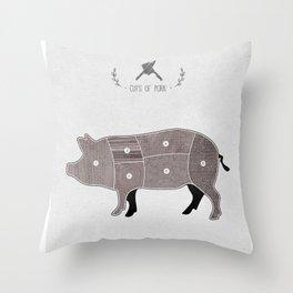 Butchers Chart Pork Throw Pillow