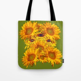 Avocado Color Sunflowers Abstract Art Tote Bag