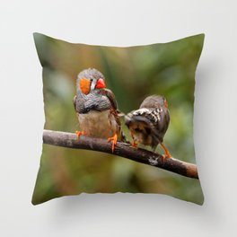 Shake that Booty, Zebra Finch! Throw Pillow
