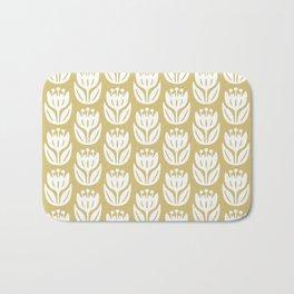 Mid Century Modern Flower Pattern Gold 333 Bath Mat