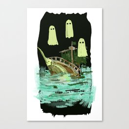 ghost pirate boat Canvas Print