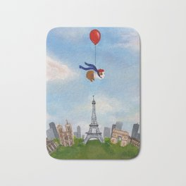 Guinea Pig With Balloon Over Paris, France Bath Mat