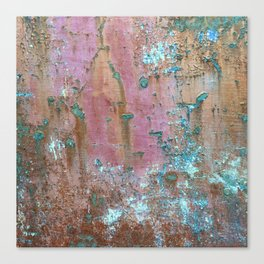 Abstract turquoise flowers on colorful rusty background Canvas Print
