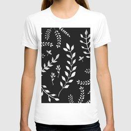 White Leaves Pattern #3 #drawing #decor #art #society6 T-shirt