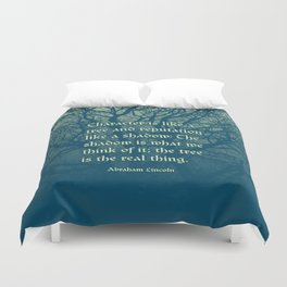 Tree of Character VINTAGE BLUE / Deep thoughts by Abe Lincoln Duvet Cover