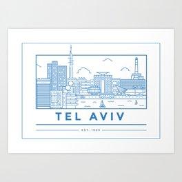 Tel Aviv line art Art Print