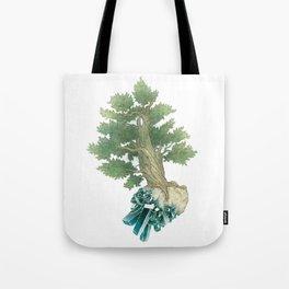 Pine Tree and Dioptase Crystals Tote Bag