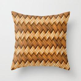 Golden Basket Weave Throw Pillow