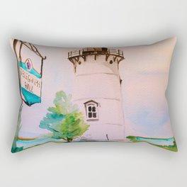 East Chop (Telegraph Hill) Lighthouse Martha's Vineyard Watercolor Rectangular Pillow