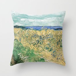 Wheatfield with Cornflowers by Vincent van Gogh Throw Pillow