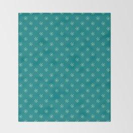 Magic Mint Green on Teal Green Snowflakes Throw Blanket