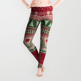 Pine Tree Ugly Sweater Leggings