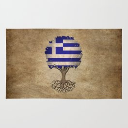 Vintage Tree of Life with Flag of Greece Rug