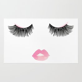 Watercolor lips and lashes print Rug