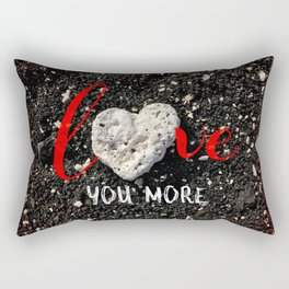 """""""Love You More"""" Hawaii Beach with Coral Heart Photo Rectangular Pillow"""