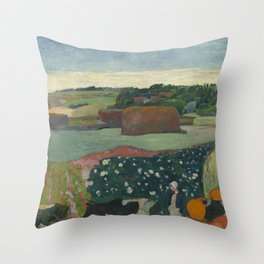 Paul Gauguin - Haystacks in Brittany Throw Pillow