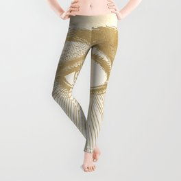 I See You. Vintage Gold Antique Paper Leggings