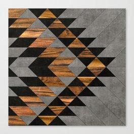 Urban Tribal Pattern 10 - Aztec - Concrete and Wood Canvas Print