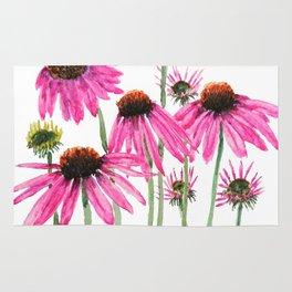 pink coneflowers watercolor Rug