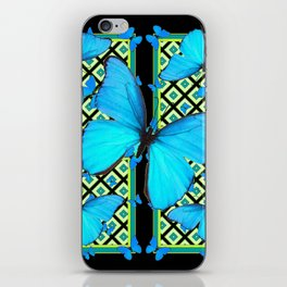 Ornate Black & Blue Azure Nouveau Butterfly Designs iPhone Skin