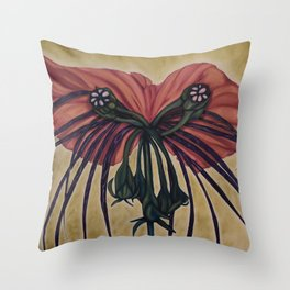 Batwing Orchid Throw Pillow