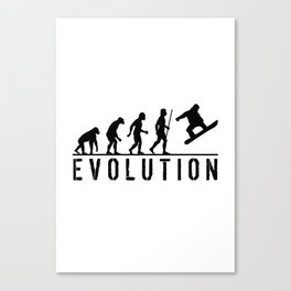 The Evolution Of Man And Snowboarding Canvas Print