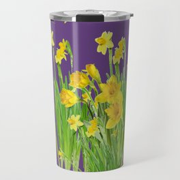 DAFFODIL SPRING GARDEN & PURPLE  DESIGN ART Travel Mug