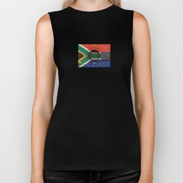 Old Vintage Acoustic Guitar with South African Flag Biker Tank