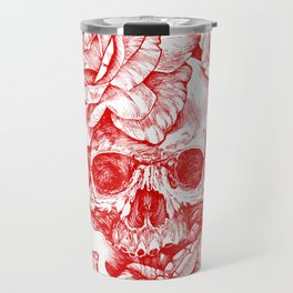 Roses and Human Skull - Red Travel Mug