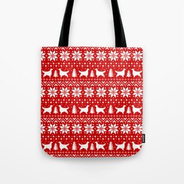 Gordon Setter Silhouettes Christmas Sweater Pattern Tote Bag