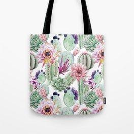 Watercolor Cacti, Opuntia, Colorful, Desert, Tropic Tote Bag