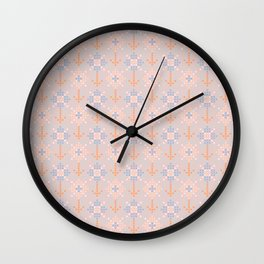 Pastel coral blue orange abstract cross stich pattern Wall Clock