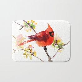 Cardinal Bird in Spring Bath Mat